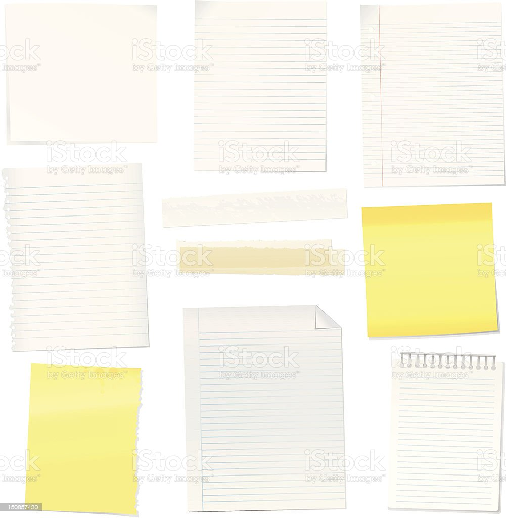 Vector paper notes royalty-free stock vector art