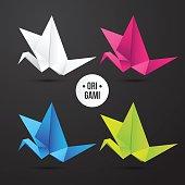 Vector paper origami crane icon.