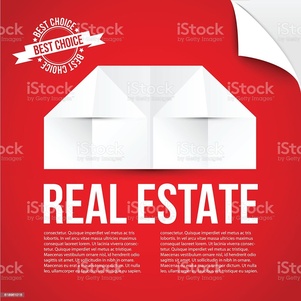 Vector Paper Origami House Icon On Red Background Royalty Free