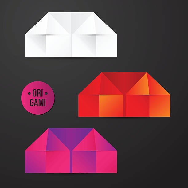 Vector Paper Origami House Icon Art Illustration