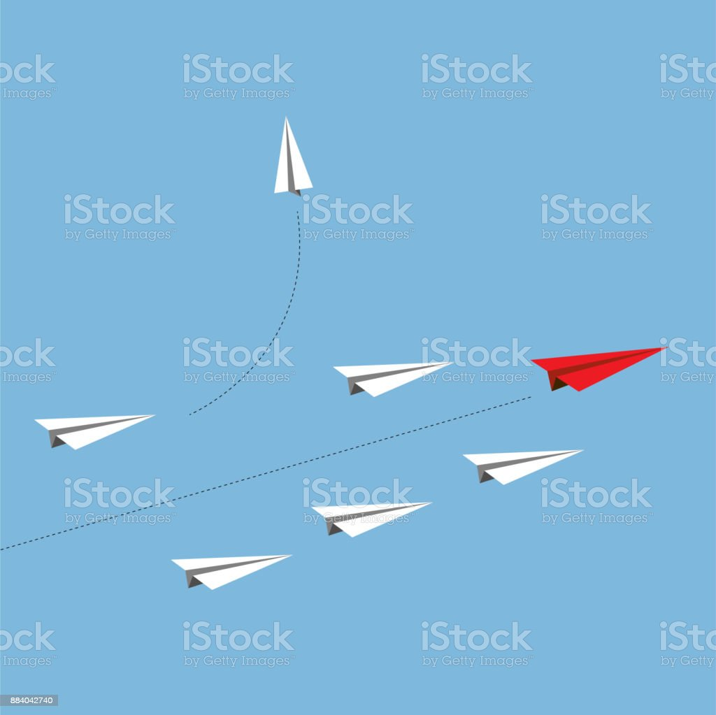 Vector paper red airplane as a leader among white airplane , leadership, teamwork concept. vector art illustration