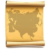 Vector vintage paper scroll with Eurasia isolated on white background