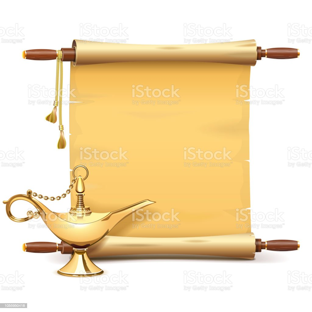 Vector Paper Scroll with Magic Lamp vector art illustration