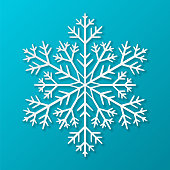 Vector paper snowflake on blue background