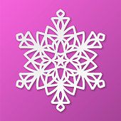 Vector paper snowflake on fuchsia background