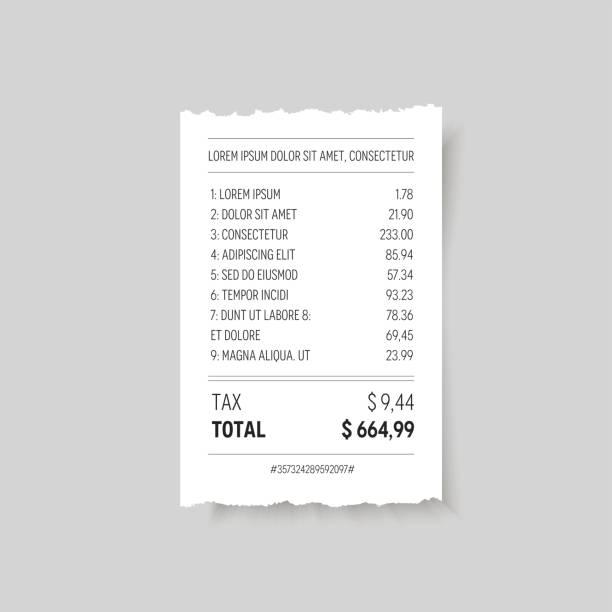 vector paper torn realistic receipt. - dollar bill stock illustrations