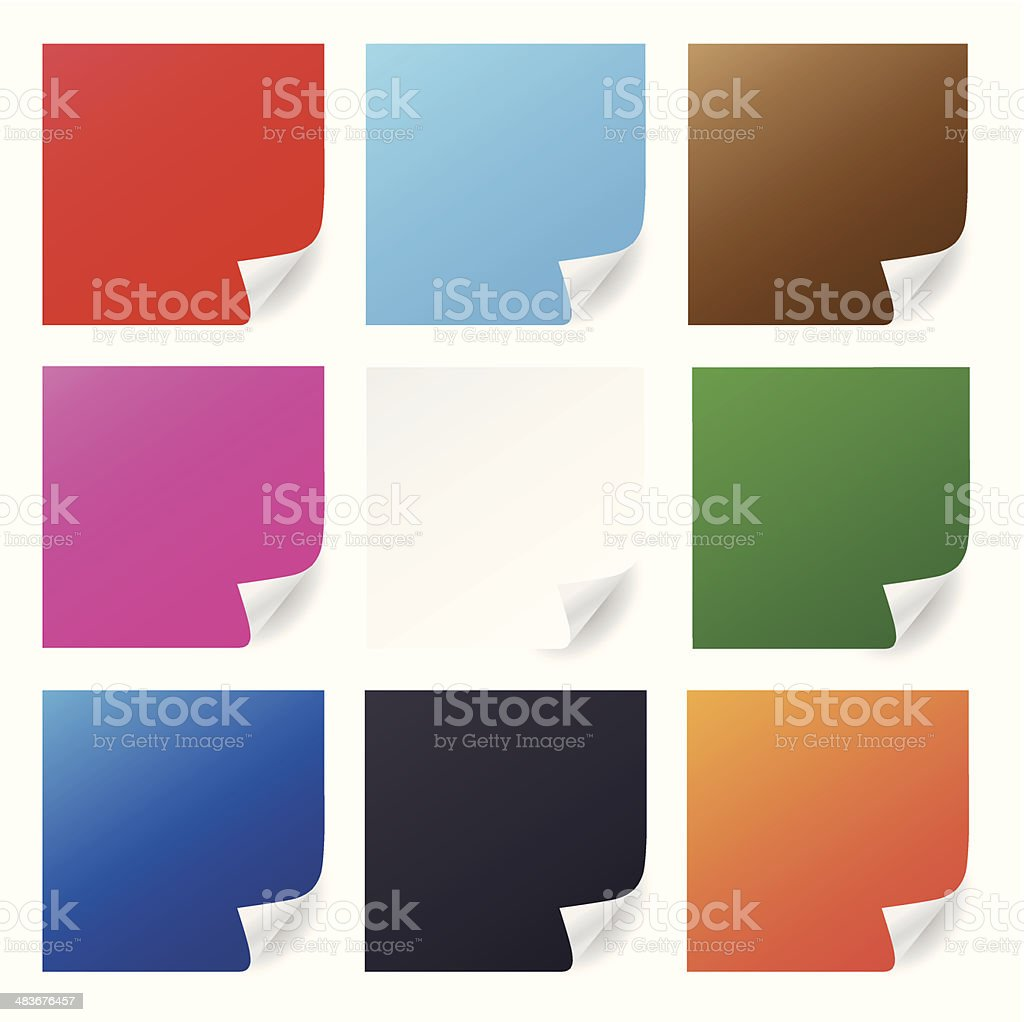 Vector paper with page corner curls vector art illustration