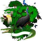 Vector  Papua New Guinea Jungle Emblem with crocodile, Fruit Bat, victoria crowned pigeon, cassowary, heron, Lesser Bird of Paradise iguana and  birdwing butterflies