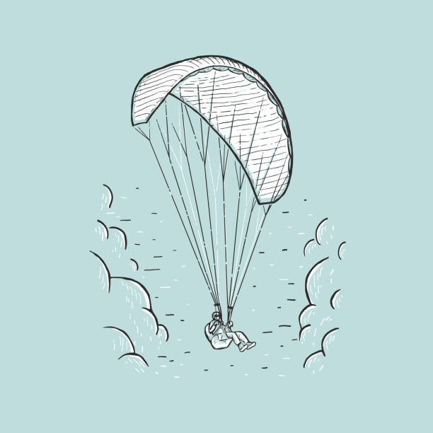 ilustrações de stock, clip art, desenhos animados e ícones de vector paraglider. sketch color illustration with hand drawn skydiver flying with a paraglider. extreme sports concept. - parapente
