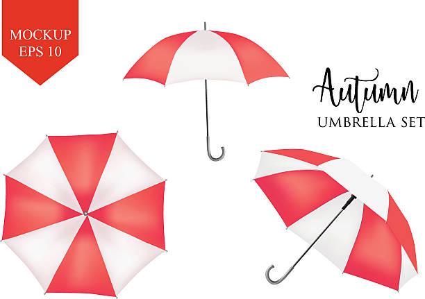 illustrazioni stock, clip art, cartoni animati e icone di tendenza di vector parasol, rain umbrella sunshade. red, striped round mock up - mockup outdoor rain