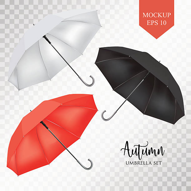illustrazioni stock, clip art, cartoni animati e icone di tendenza di vector parasol, rain umbrella sunshade set. round colored mock up - mockup outdoor rain