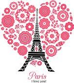 Vector Paris Eifel Tower Bursting With St Valentines Day Red