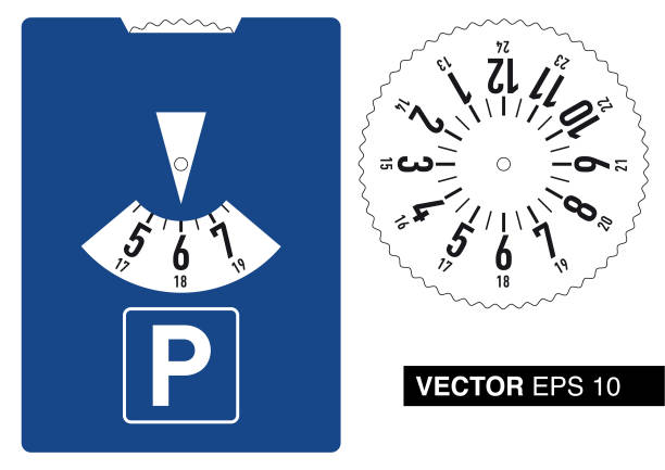 stockillustraties, clipart, cartoons en iconen met vector parkeerschijf - disk