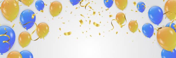 bildbanksillustrationer, clip art samt tecknat material och ikoner med vector part bakgrund med konfetti och ballonger - blue yellow band