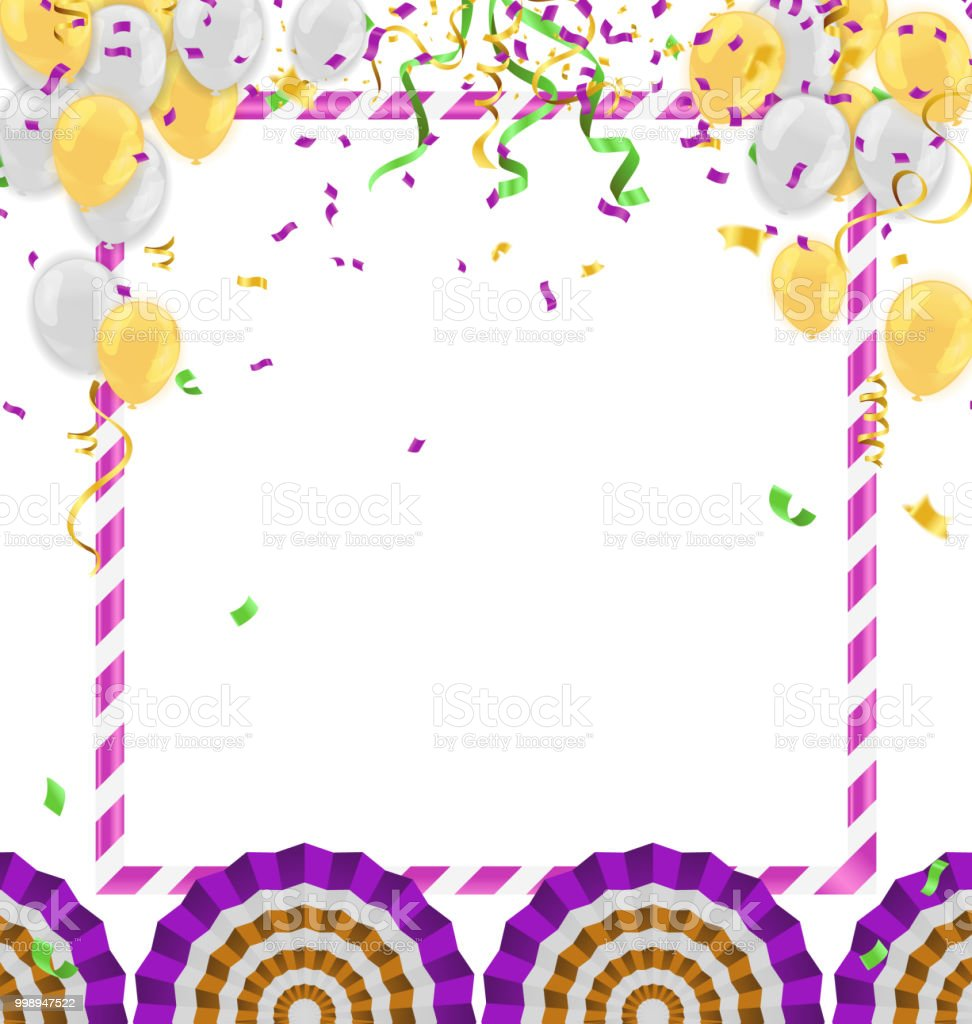 Vector Party Balloons Illustration Confetti And Ribbons Flag