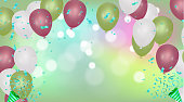 Vector party balloons illustration. Confetti  Greeting card design template confetti. Celebrate brochure or flyer .Happy New YearVector party balloons illustration. Confetti  Greeting card design template confetti. Celebrate brochure or flyer .Happy New Year