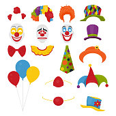 Vector Party Birthday or 1th april - Fool s Day - photo booth props. Hats, wigs, neckties, clown noses, masks, balloons and cylinder icon set isolated on white background. Clipart, design templates for graphics