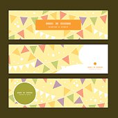 Vector party decorations bunting horizontal banners set pattern background