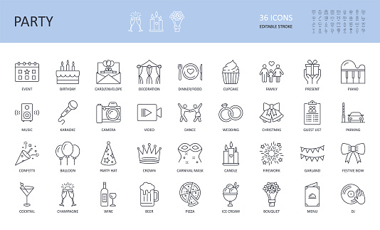 Vector party event icons. Editable stroke. Birthday dinner music confetti karaoke champagne balloon cocktail gift Wine cake bouquet decoration hat mask firework wedding piano dance star family garland