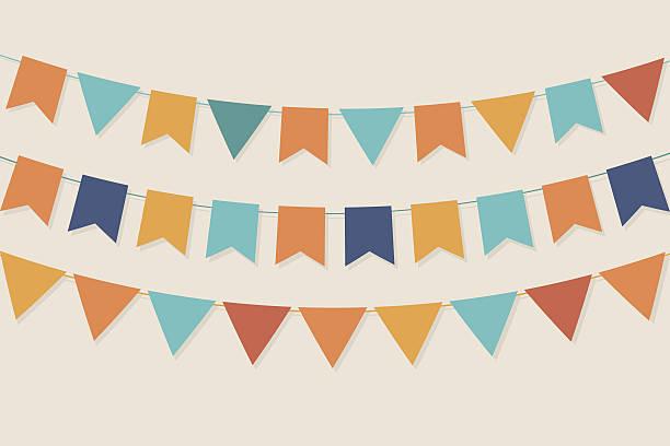 bildbanksillustrationer, clip art samt tecknat material och ikoner med vector party flags in pastel palette - blue yellow band