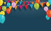 紙吹雪、風船とベクトル パーティー フラグ。コンセプトを祝います。