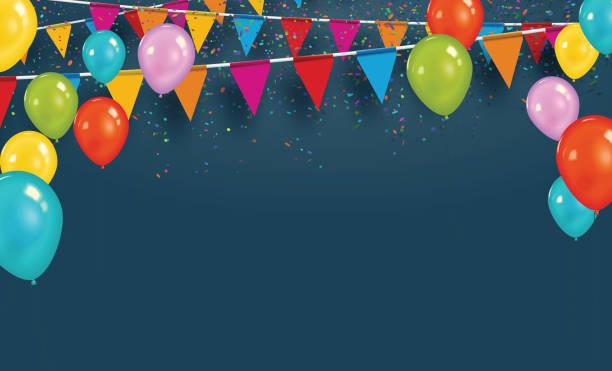 ilustraciones, imágenes clip art, dibujos animados e iconos de stock de banderas del partido de vector con confeti y globos. celebrar el concepto. - cumpleaños