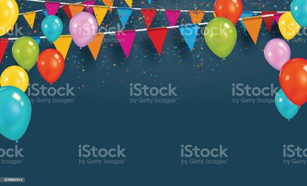 Bandeiras de festa de vetor com confetes e balões. Comemore o conceito. - ilustração de arte em vetor