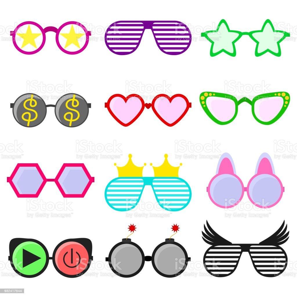 57041dc51d1 Vector party sunglasses or eyeglasses set in funny shape. Accessories for  hipsters fashion optical spectacles eyesight view. Colorful sunglasses icon  set in ...