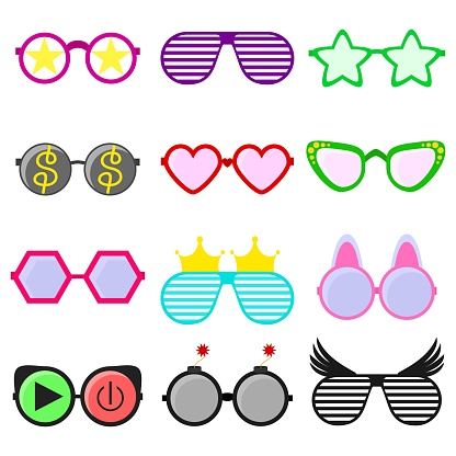Vector party sunglasses or eyeglasses set in funny shape. Accessories for hipsters fashion optical spectacles eyesight view. Colorful sunglasses icon set in flat style isolated on white background