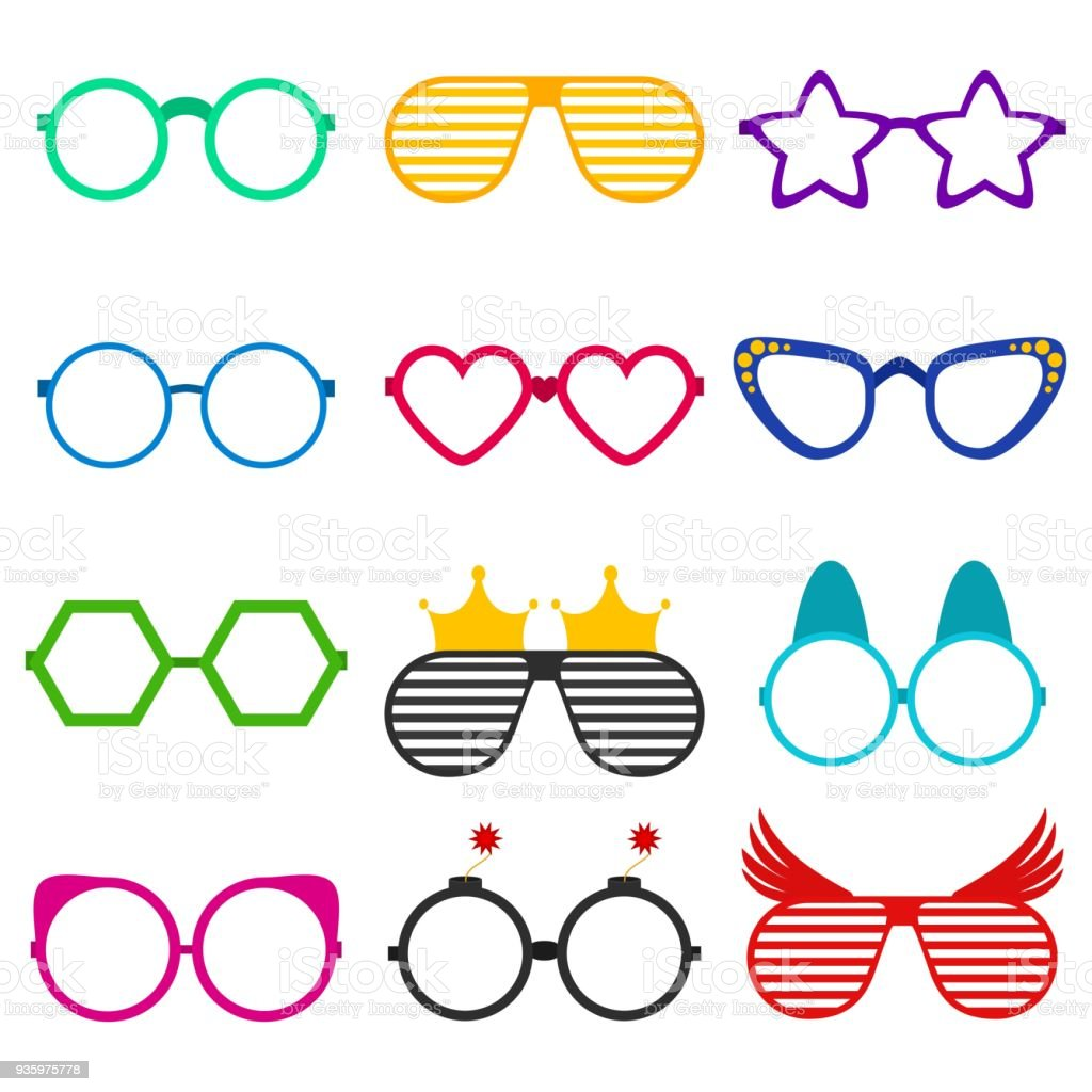 323e20422d2 Vector party sunglasses or eyeglasses set in funny shape. Accessories for  hipsters fashion optical spectacles eyesight view. Colorful sunglasses icon  set in ...