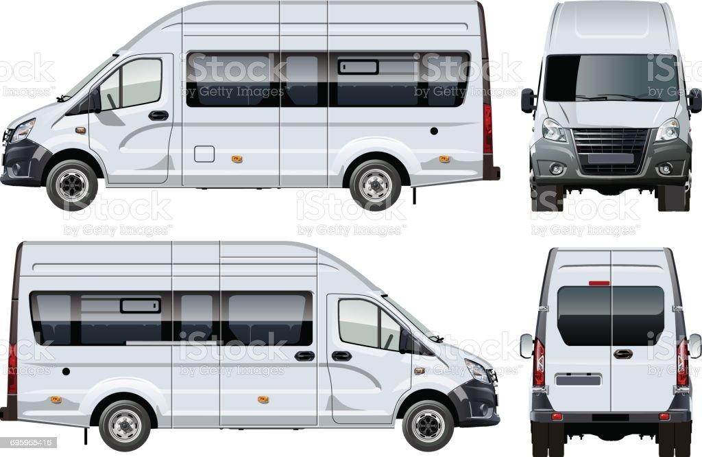 Vector passenger van template isolated on white vector art illustration