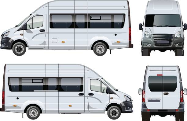 Vector passenger van template isolated on white Vector passenger van template isolated on white. Side, front and back view. Available EPS-10 separated by groups and layers with transparency effects for one-click repaint mini van stock illustrations