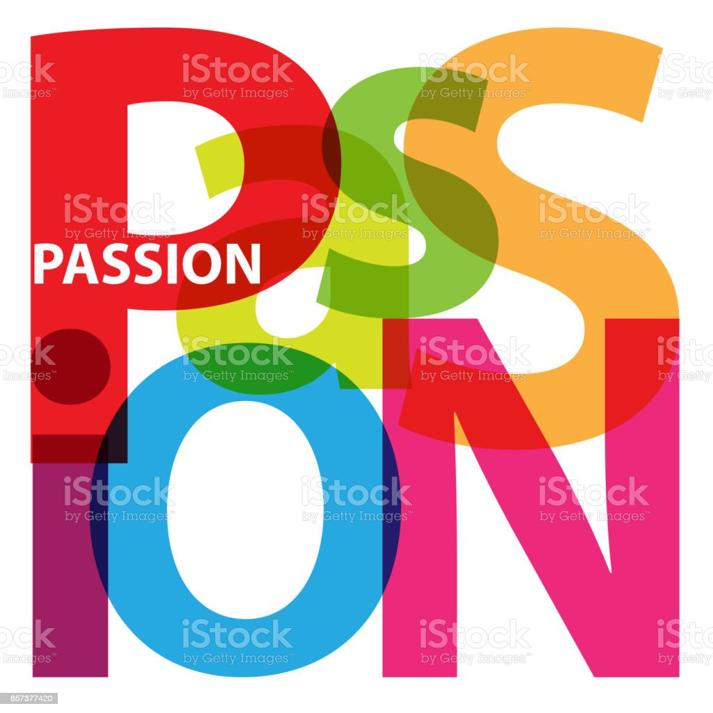 Vector Passion. Broken text vector art illustration