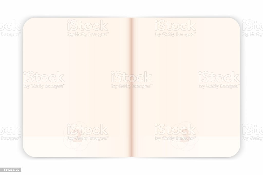Vector passport blank pages for visa stamps. Empty passport with watermark. Realistic international document vector art illustration