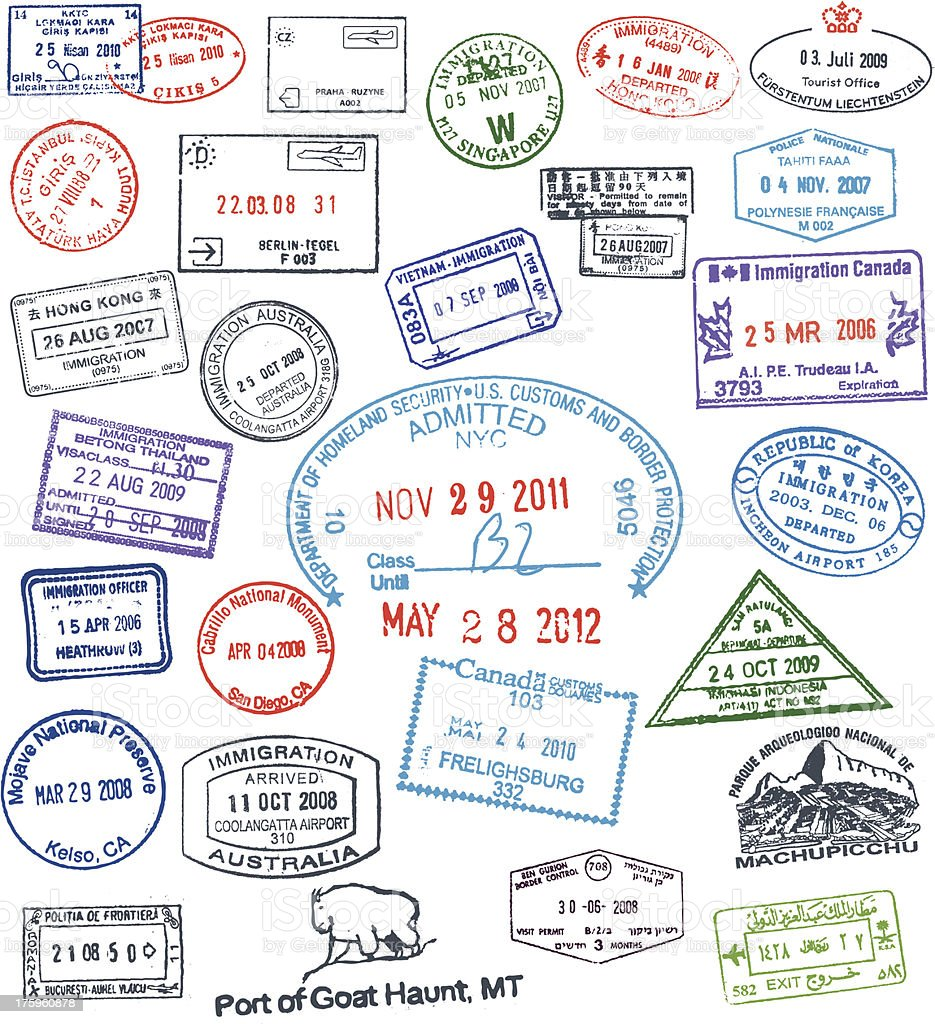 Vector Passport Stamps vector art illustration