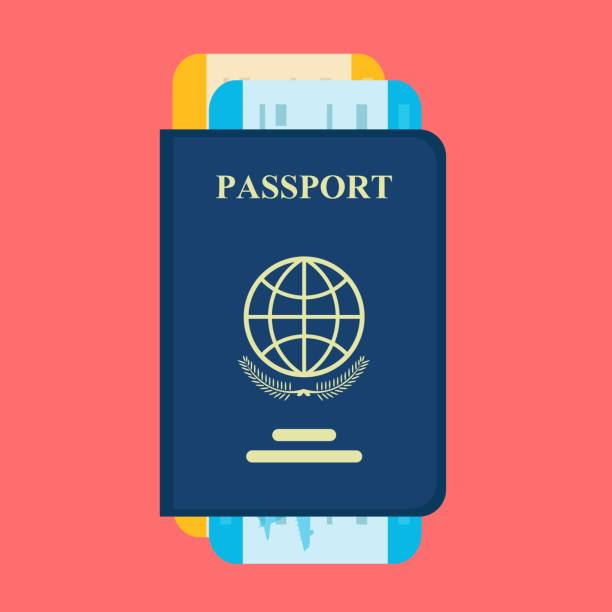 vector passport with tickets - airplane ticket stock illustrations