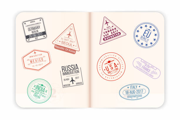 Vector passport with visa stamps. Open passport pages with airport visa stamps and watermarks. Realistic international document vector art illustration