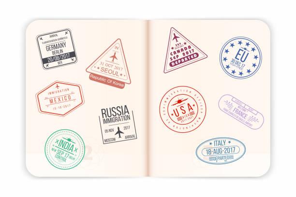 Vektor-Reisepass mit Visum Briefmarken. Offenen Pass Seiten mit Flughafen-Visum-Stempel und Wasserzeichen. Realistische internationales Dokument – Vektorgrafik