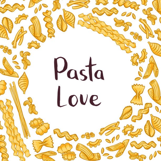 Vector pasta elements background illustration with plain space for text in center Vector pasta elements background illustration with plain space for text in center. Italian pasta design, macaroni and spaghetti conchiglie stock illustrations