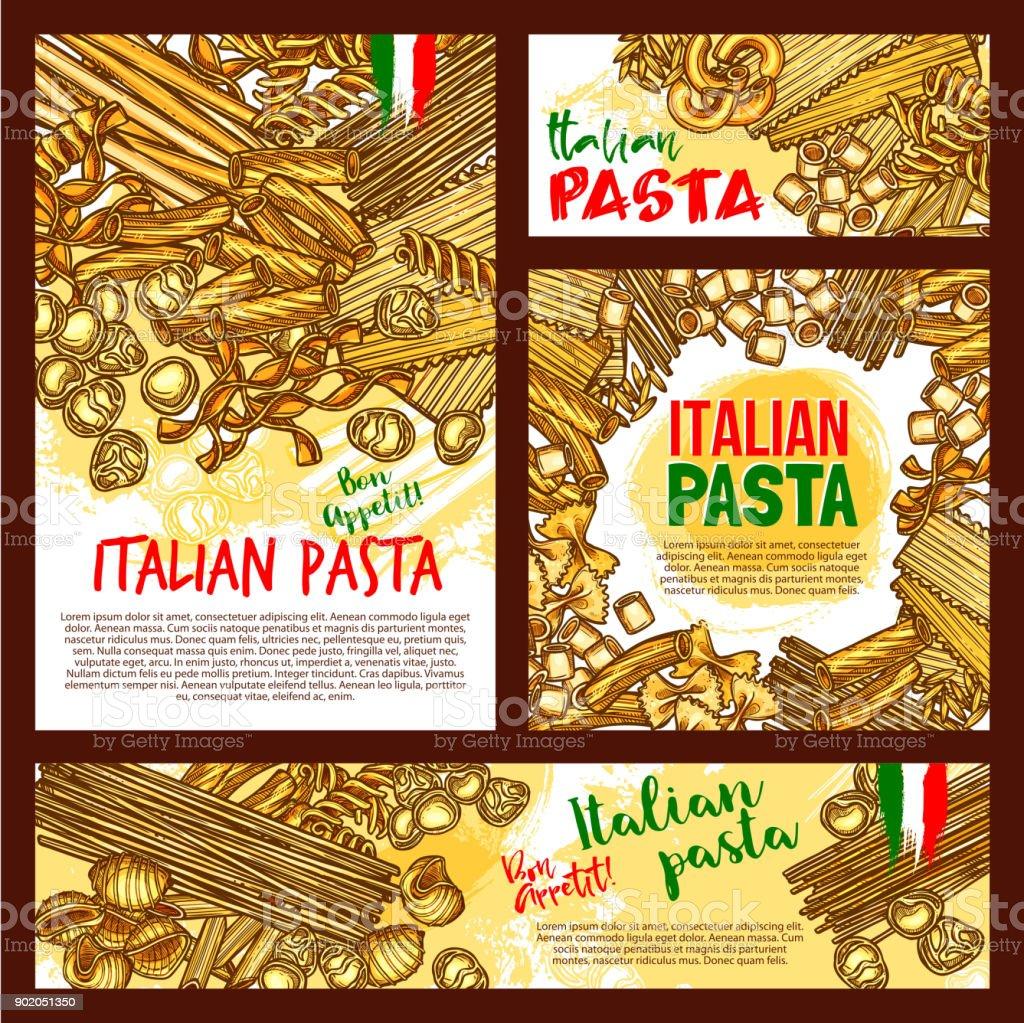 Vector pasta sketch posters for Italian restaurant vector art illustration