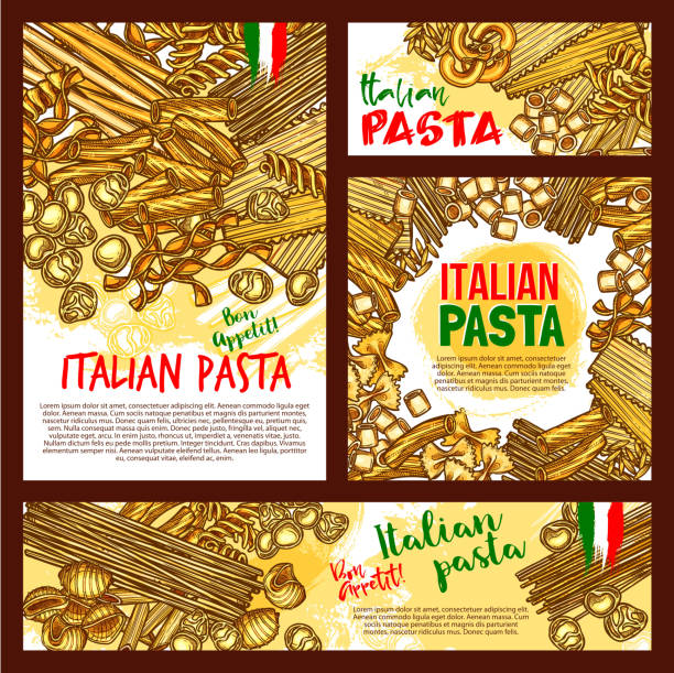 Vector pasta sketch posters for Italian restaurant Italian pasta posters or banners for restaurant design. Vector spaghetti, fettuccine or farfalle and durum hand crafted tagliatelle. Traditional Italy cuisine lasagna, ravioli macaroni or pappardelle canelones stock illustrations