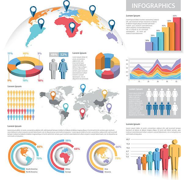 Vector Pastel Colors Infographics Set vector art illustration
