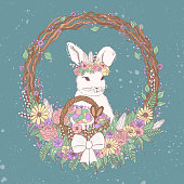 watercolor vector pastel floral easter bunny illustration with flowers, easter eggs, basket, wreath, chocolate candies. sweet and cute colorful easter clip art with a bunny wearing floral wreath on a green background. kids beauty fashion illustration for tee t-shirt prints, greeting and gift card design, package and brand design.