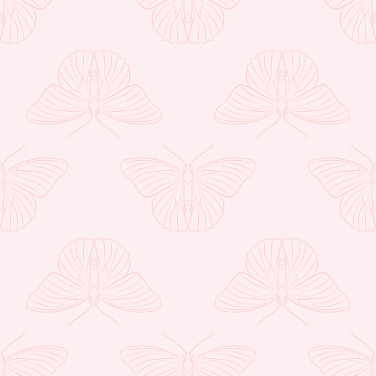 Vector pastel pink butterfly pattern background.