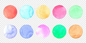 Vector pastel watercolor circle set. Color smear of watercolour splash stain on transparent background