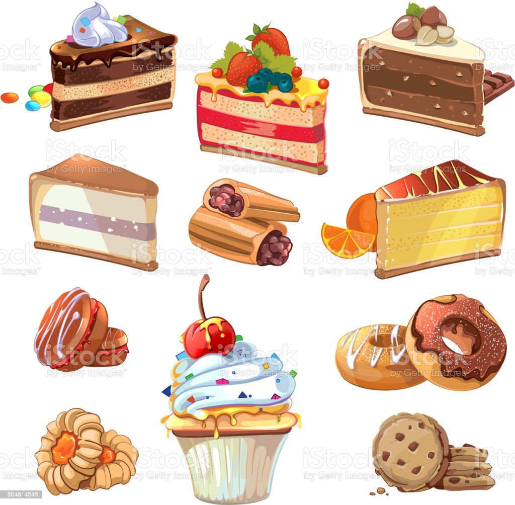 Vector pastry set in cartoon style vector art illustration