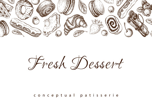 vector pastry sketch on white. Bakery horizontal banner, border with desserts, berries, eclair, croissant, donut, macaroons drawing. pastry background template for design. Engraved food illustration.