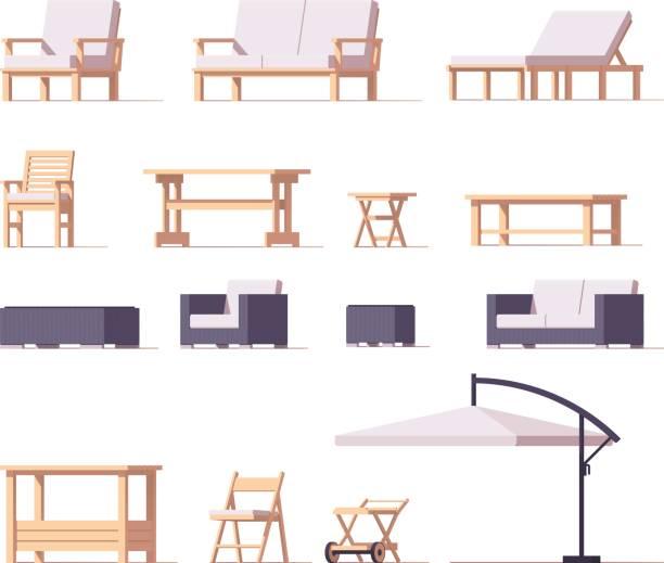 vektor-terrasse und gartenmöbel set - fahrzeugsitz stock-grafiken, -clipart, -cartoons und -symbole