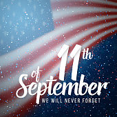 Vector Patriot Day Poster. Paper Lettering September 11th on Realistic American Flag Background with Confetti