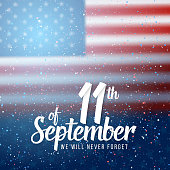 Vector Patriots Day Poster. September 11th 2001 Paper Lettering on Blurred USA Flag Background with Confetti